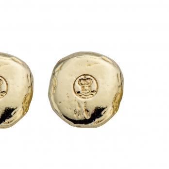 Gold Mini Disc Stud Earrings detailed