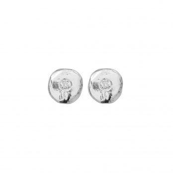 Silver Mini Disc Stud Earrings