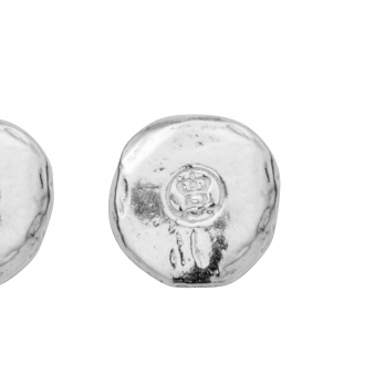 Silver Mini Disc Stud Earrings detailed