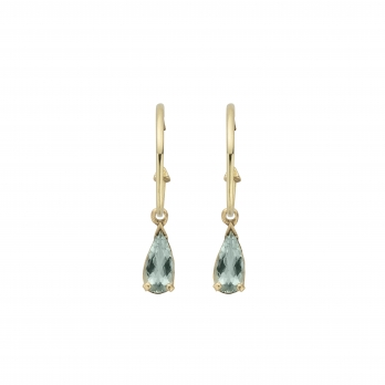 EZILI Gold Aquamarine Tear Drop Earrings