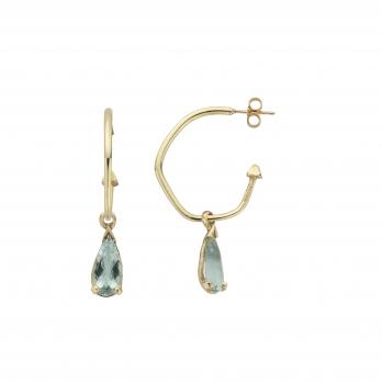 EZILI Gold Aquamarine Tear Drop Earrings detailed