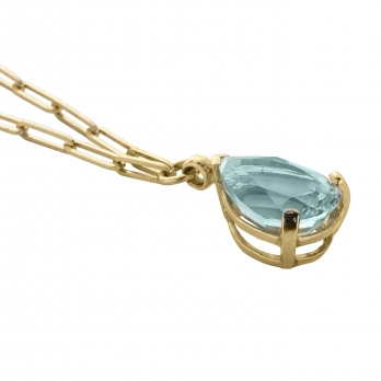 EZILI Gold Aquamarine Teardrop Necklace detailed