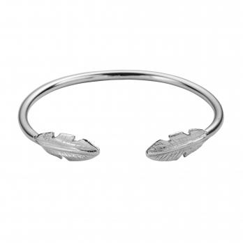 Silver Feather Cuff Bangle