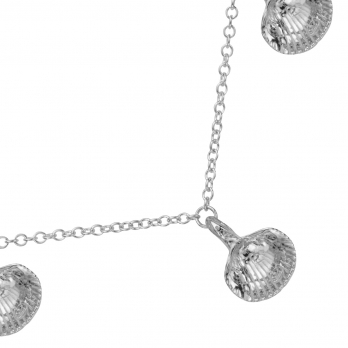 Silver Five Shell Necklace detailed