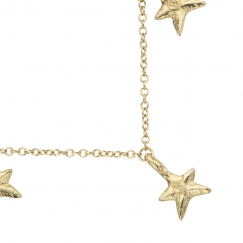 Gold Five Star Necklace detailed