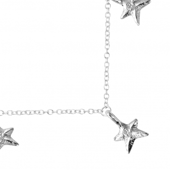 Silver Five Star Necklace detailed