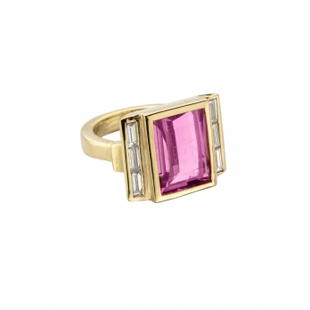 GATSBY Pink Tourmaline & Baguette Diamond Gold Ring