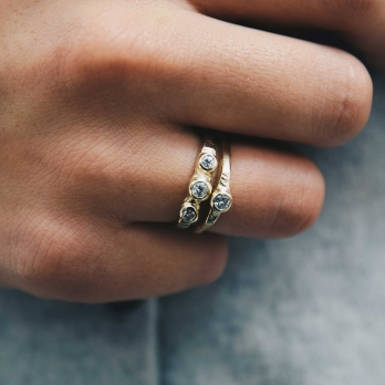 Gold Diamond Promise Ring detailed