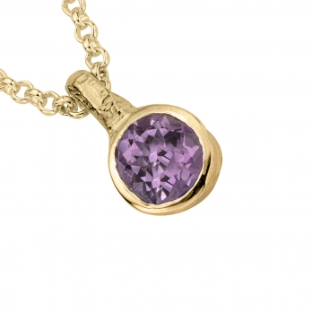 Gold Amethyst Baby Treasure Necklace detailed