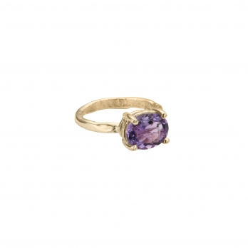 Gold Amethyst Claw Ring