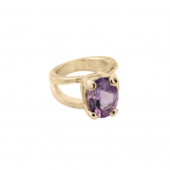 Gold Amethyst Maxi Claw Ring