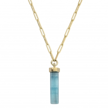 GELIDA Gold Large Aquamarine Pendant Trace Chain Necklace