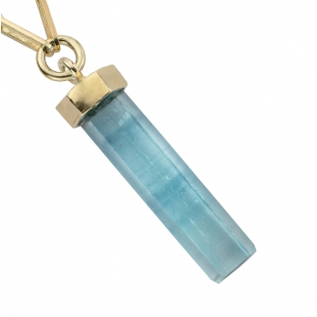 GELIDA Gold Large Aquamarine Pendant Trace Chain Necklace detailed