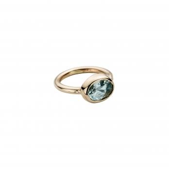 Gold Aquamarine Baby Treasure Ring