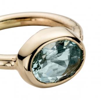 Gold Aquamarine Baby Treasure Ring detailed