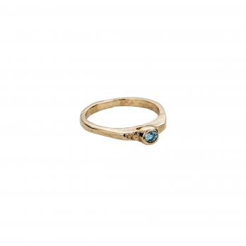Gold Aquamarine Promise Ring