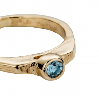 Gold Aquamarine Promise Ring detailed