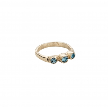 Gold Aquamarine Trinity Ring