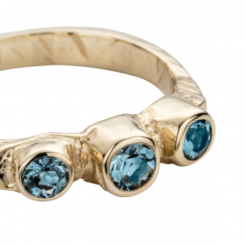 Gold Aquamarine Trinity Ring detailed