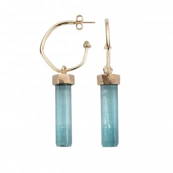 Gold Aquamarine Medium Drop Earrings