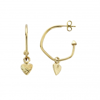 Gold Maxi Cupid Hoops with Baby Heart Charms detailed