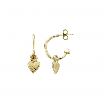 Gold Mini Cupid Hoops with Baby Heart Charms detailed