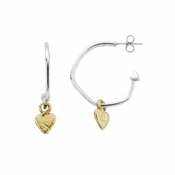 Maxi Cupid Hoops with Gold Baby Heart Charms detailed