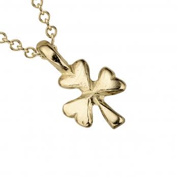 Gold Baby Shamrock Necklace detailed