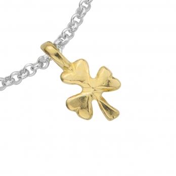 Silver & Gold Baby Shamrock Chain Bracelet detailed