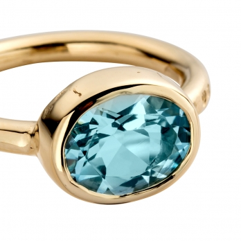 Gold Blue Topaz Baby Treasure Ring detailed