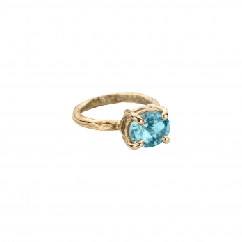 Gold Blue Topaz Claw Ring