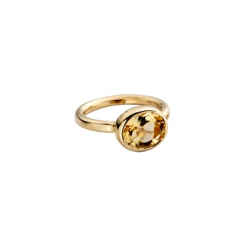 Gold Citrine Baby Treasure Ring