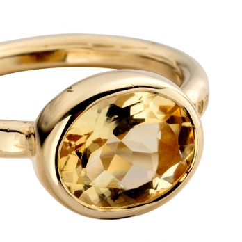 Gold Citrine Baby Treasure Ring detailed