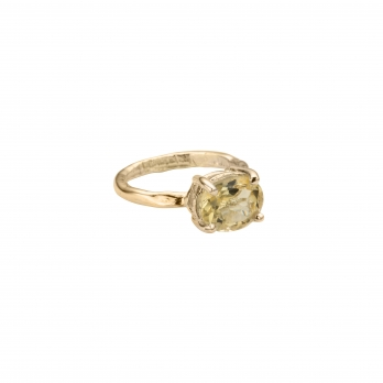 Gold Citrine Claw Ring