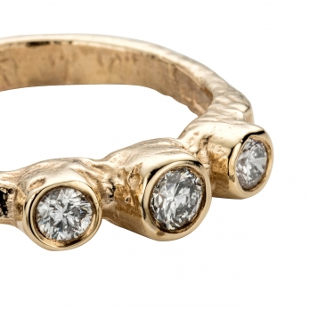 Gold Diamond Trinity Ring detailed