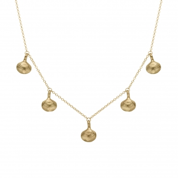 Gold Five Shell Necklace