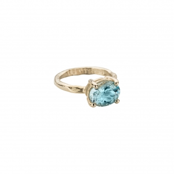 Gold Posh Aquamarine Claw Ring