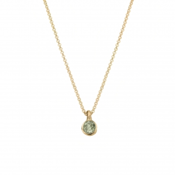 Gold Green Quartz Baby Treasure Necklace