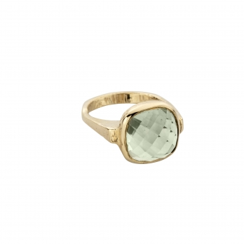 Gold Green Quartz Crystal Ring