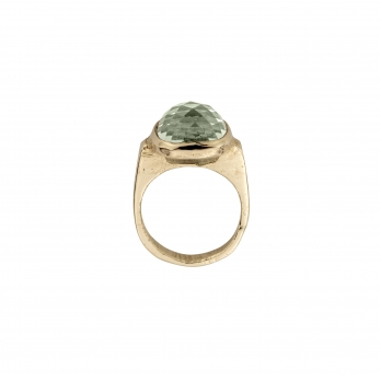 Gold Green Quartz Crystal Ring detailed