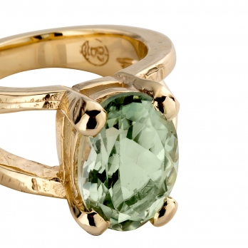 Gold Green Quartz Maxi Claw Ring detailed