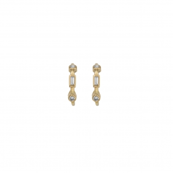 Luxury Gold Diamond Mini Cupid Hoop Earrings