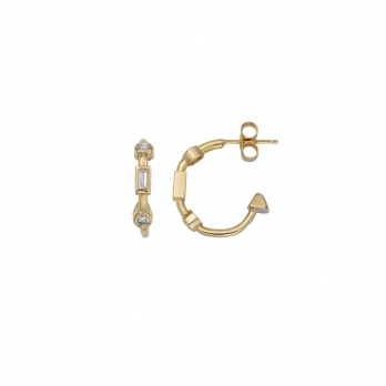 Luxury Gold Diamond Mini Cupid Hoop Earrings detailed