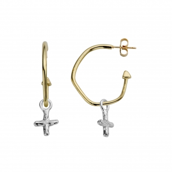 Gold Maxi Cupid Hoops with Silver Mini Kiss Charms detailed