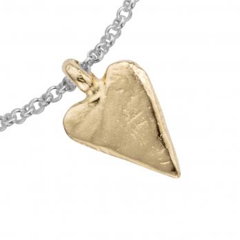 Silver & Gold Medium Heart Chain Bracelet detailed