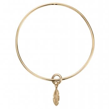 Gold Mini Feather Bangle