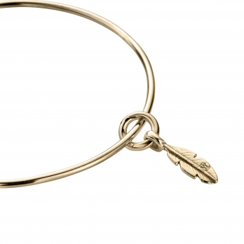 Gold Mini Feather Bangle detailed