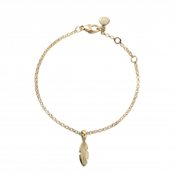 Gold Mini Feather Chain Bracelet
