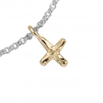 Silver & Gold Mini Kiss Chain Bracelet detailed