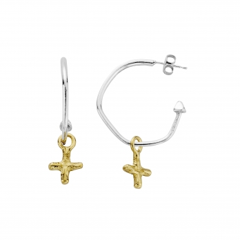 Maxi Cupid Hoops with Gold Mini Kiss Charms detailed